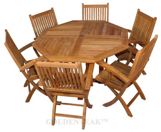 Remarkable Teak Outdoor Dining For 6 Octagon Table 6 Rockport Folding Dining Chairs Machost Co Dining Chair Design Ideas Machostcouk