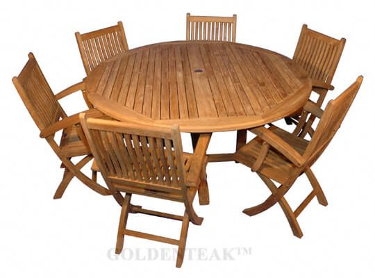 Wondrous Teak Dining Set For 6 Round Table 60 6 Rockport Folding Chairs W Arms Machost Co Dining Chair Design Ideas Machostcouk
