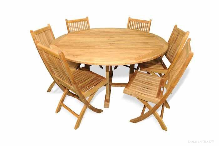 Teak Dining Set For 6 Round Table 60 Rockport Folding Side Chairs
