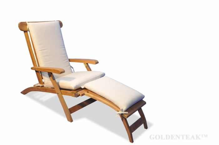 teak steamer chair chaise lounge and cushion set from goldenteak