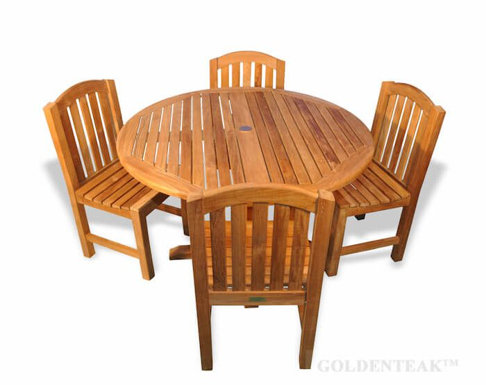 Teak Outdoor Dining Set For 4 With Round Table And 4 Round Top Side Chairs
