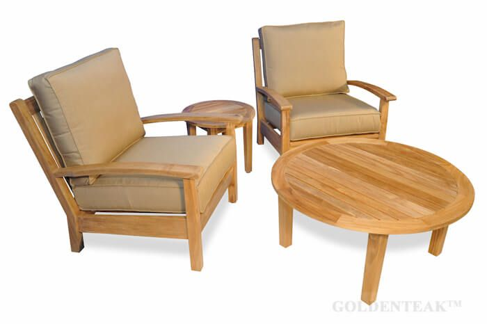 Round Coffee Table With Chairs.Teak Deep Seating Round Coffee Table Set