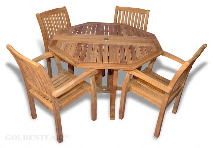Swell Teak Outdoor Patio Set Octagon Folding Table And 4 Millbrook Dining Chairs Machost Co Dining Chair Design Ideas Machostcouk
