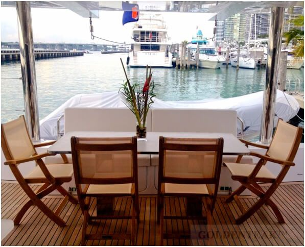 Teak And And Sling Providence Folding Chairs On Boat   Customer Photo