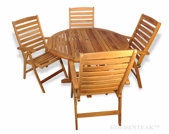 Teak Outdoor Dining Set With Round Table And Four Reclining Chairs