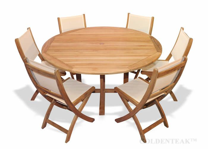 Teak Outdoor Dining Set For 6 Round Teak Table And Folding Chairs