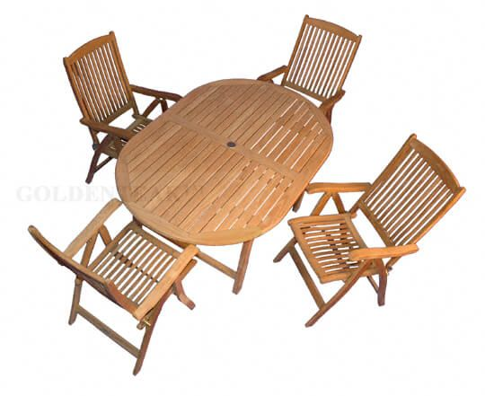 Teak Outdoor Dining Set Oval Table 4 Reclining Chairs Outdoor Dining
