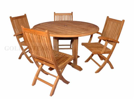 Teak Patio Dining Set 48 Round Table And 4 Folding Chairs