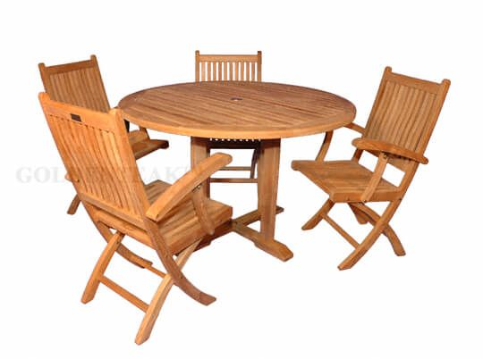Teak Patio Dining Set Teak Round Table 48in And Teak Folding Chairs