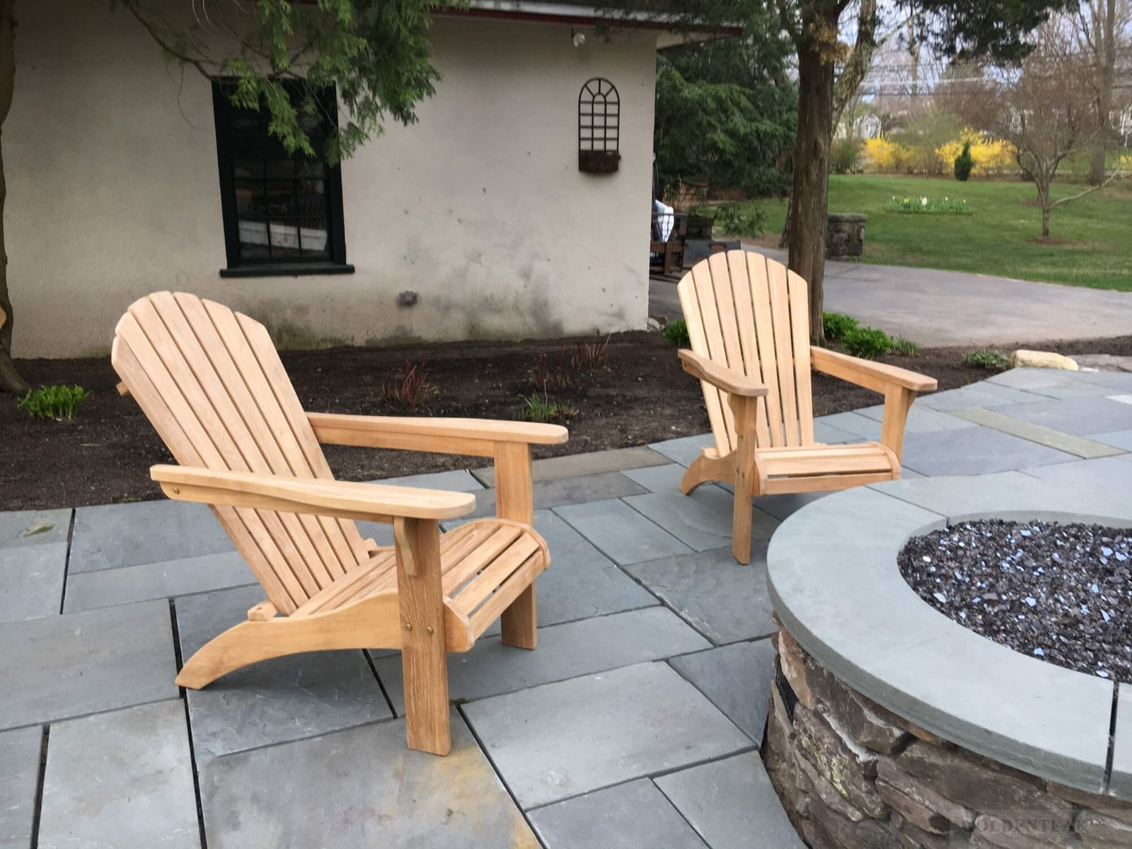 Teak Adirondack Chair Pair Save On Set Goldenteak Teak Patio - Teak fire pit table