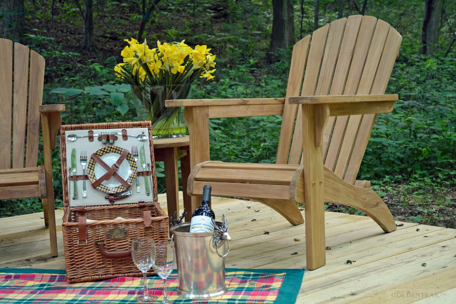 Here Are Goldenteaku0027s Teak Adirondack Chairs, Ottomans And A Side Table At  A Well Appointed Summer House At Marthas Vineyard.