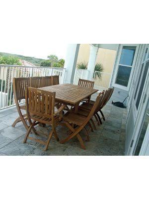 Teak Patio Set Rect. Extension Table and Teak Providence Chairs - Customer Photo Florida