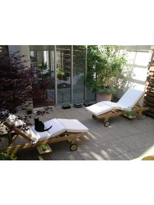 Goldenteak Teak Chaise Lounge, Sun Loungers on Manhattan Roof Deck