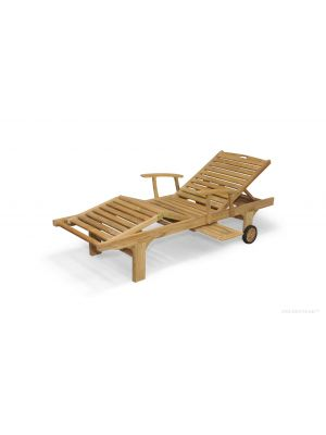 Teak Sunlounger with arms