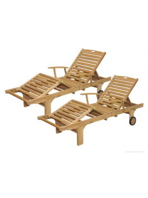 Pair - Teak Chaise Sunlounger with arms