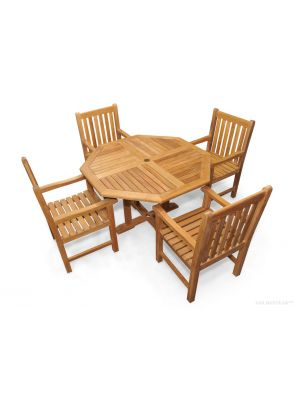Teak Patio Dining Set, Octagon Table 48 inch,  4 Block Island Dining Chairs