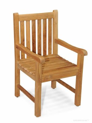 Attirant Solid Teak Block Island Dining Chair With Arms ...