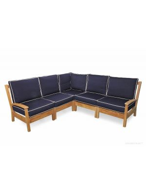 Teak Deep Seating Sectional SET with standard cushions
