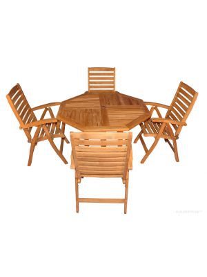 Teak Outdoor Dining Set Octagon Table (52