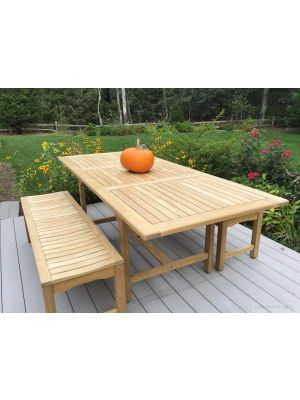 Teak Patio Dining Set Rect Table, Backless Benches - Customer Photo Goldenteak
