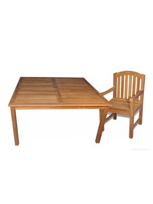 Teak Dining Set for 8, 60in Sq Table and 8 Aquinah Chairs
