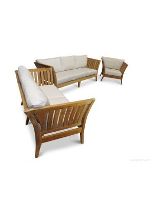 Deep Seating Conversation Set - in Premium Teak and Sunbrella - Nevis Island Estate Collection
