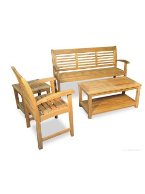 Teak Westerly Conversation Set with Westerly Bench, Chair, Coffee and End Table