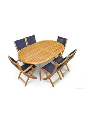 Teak Outdoor Dining Set Oval Table Navy Sling Folding Providence Chairs