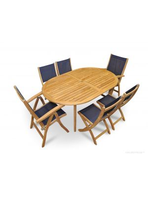 Teak Patio Dining Set for 6 Navy Sling with Reclining and Folding Chairs