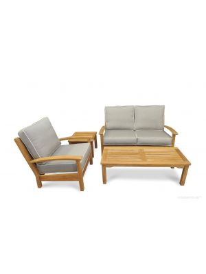Deep Seating Conversation Set with Love Seat Club Chair Mission Coffee Table and End Table