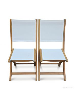 Teak Folding Side Chair White Sling Seat PAIR- Providence Collection