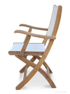 Teak Folding  Chair with White Sling Batyline Fabric PAIR - Providence Collection