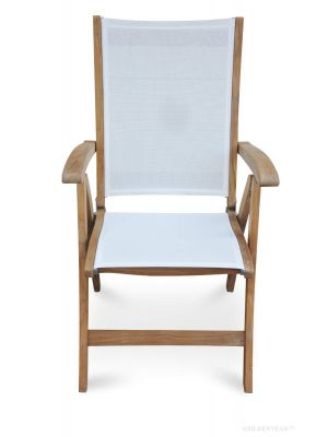 Teak Recliner chair with White Sling