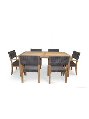 Teak Westport Dining Set for 6, Teak & Wicker Stacking Chairs