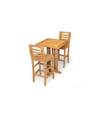 Teak Square Bar Table, 2 Portsmouth Bar Chairs Set