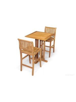 Teak Square Bar Table, 2 Bar Chairs | Premium Teak