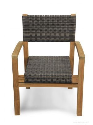 Teak And Wicker Stacking ARM Chair - Westport Harbor