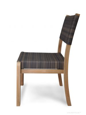 Teak and Wicker Stacking Side Chair Westport Harbor Set of 4
