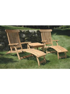 Teak Steamer Chaise Lounge Pair Set ...