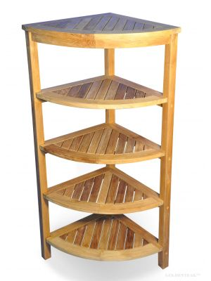 Solid Teak Corner Shelf 5 Tier