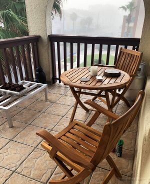 Teak Balcony Set Round Table Folding Chairs - Goldenteak