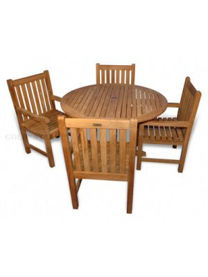 Teak Patio Dining Set Padua Table 48 in, 4 Block Island Dining Chairs