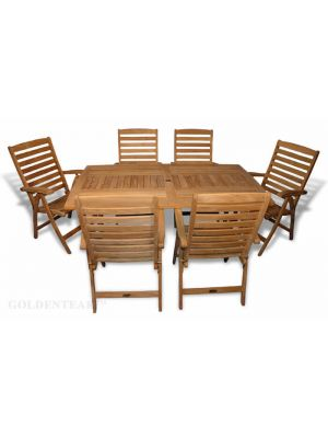 Teak Dining Set Rect Table - 6 Portsmouth Reclining Chair
