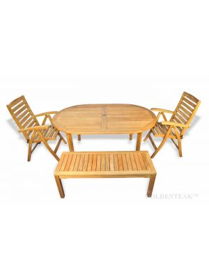 Teak Outdoor Dining Set for six, oval table,  two benches, two recliners