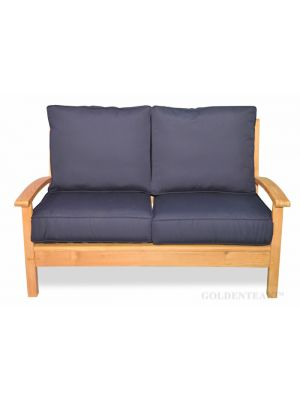 Teak Deep Seating Love Seat, Chappy Collection with Cushions