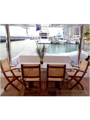 Teak and and Sling Providence Folding Chairs on boat - customer photo