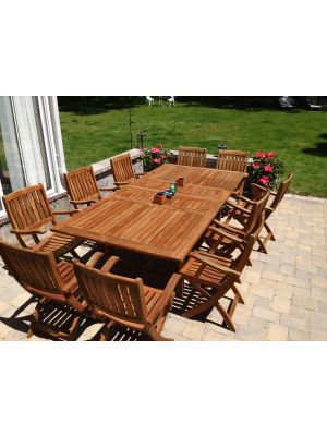 Teak Outdoor Dining Set - Extension Table and Teak Providence Chairs - Customer Photo
