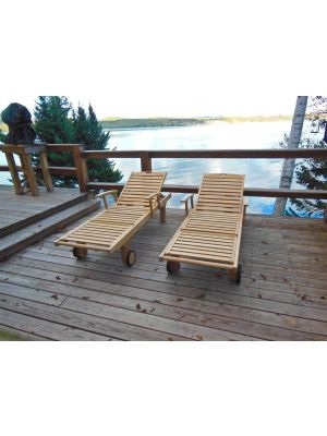 Teak Chaise Sunlounger with arms at lake in Maine- customer photo
